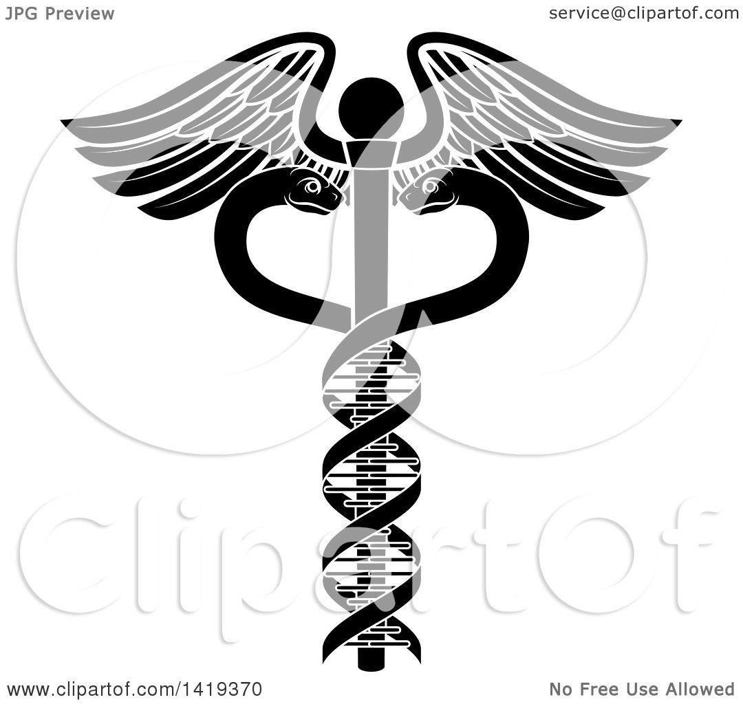 Clipart of a black and white medical caduceus with dna strand clipart of a black and white medical caduceus with dna strand snakes on a winged rod royalty free vector illustration by atstockillustration buycottarizona Image collections