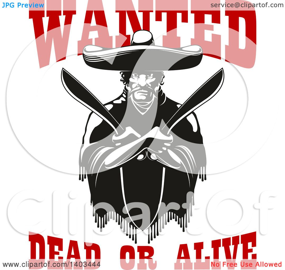 Clipart Of A Black And White Mexican Bandit Wearing A