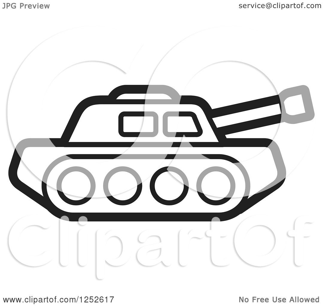 Royalty Free Clipart Illustration Of A Black And White Military Tank
