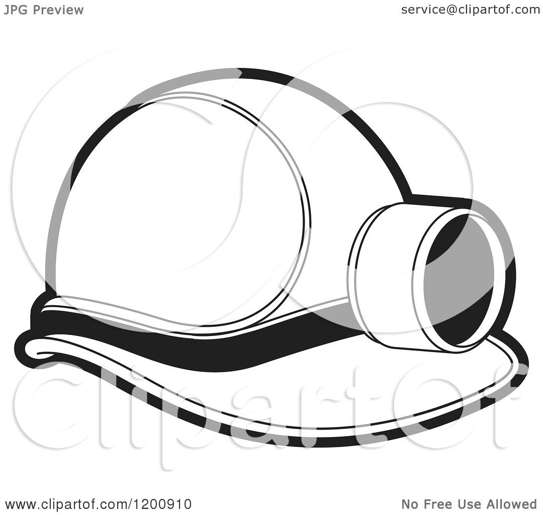 Black Ceiling Lamp Royalty Free Vector Image: Clipart Of A Black And White Mining Helmet And Lamp