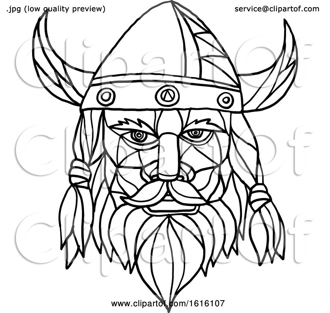Clipart of a Black and White Mosaic Low Polygon Head of a ...