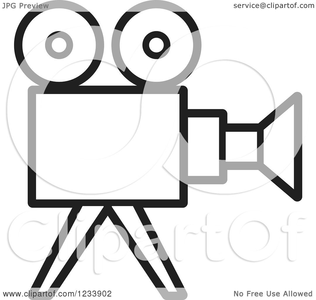 Clipart of a Black and White Movie Camera - Royalty Free Vector ...