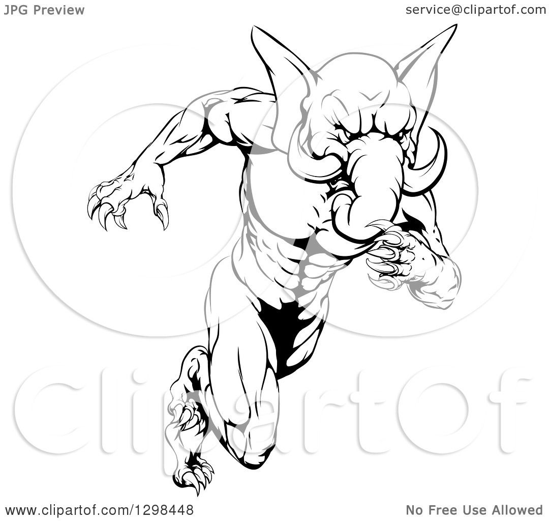 Clipart of a Black and White Muscular Aggressive Elephant ...