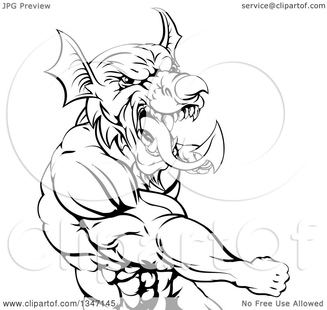 Clipart of a Black and White Muscular Fighting Welsh Dragon Man ...