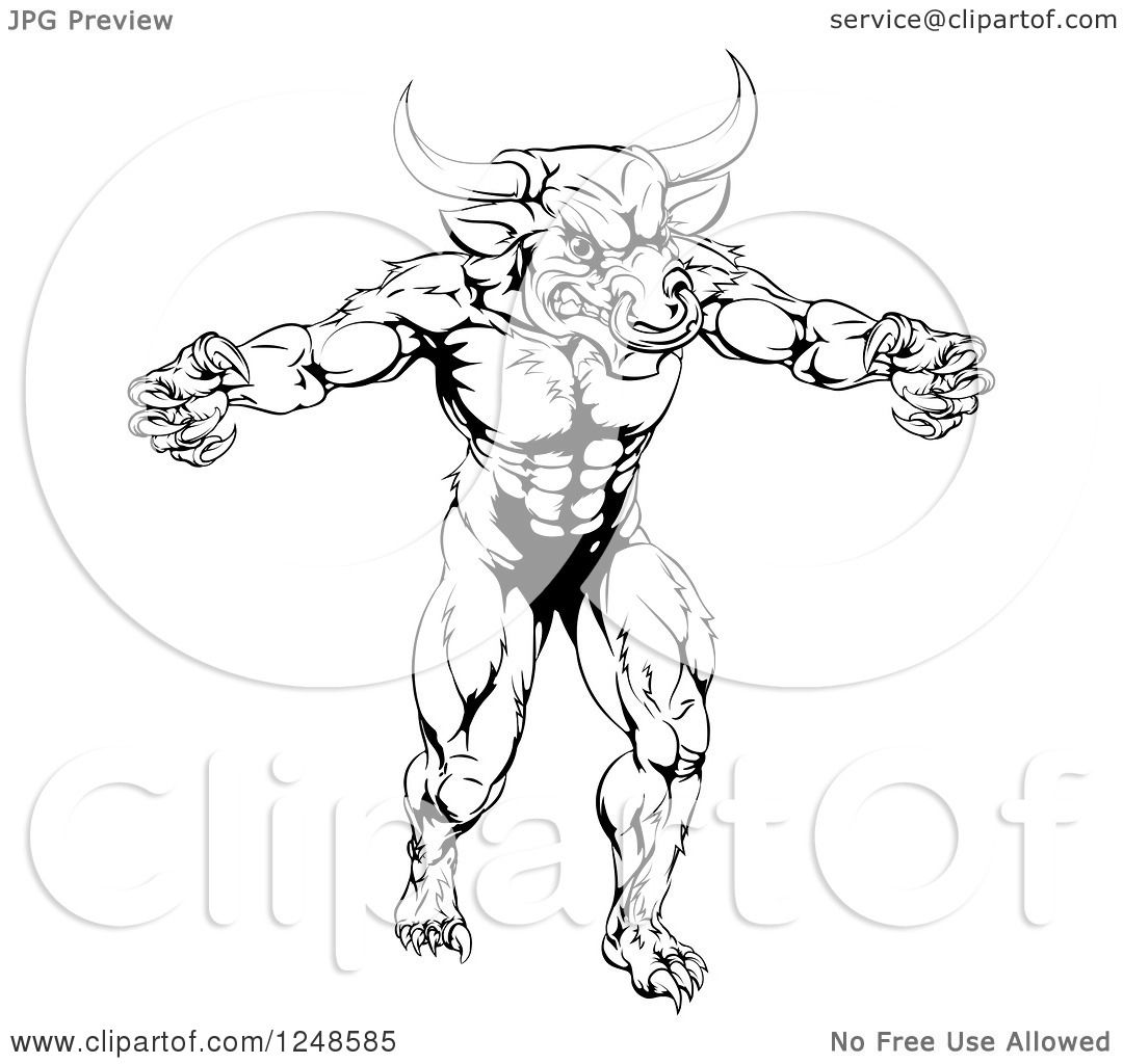 Clipart of a Black and White Muscular Minotaur Mascot