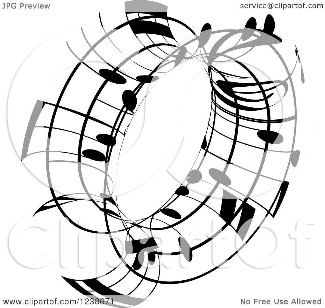 clipart of a black and white music note circle design element 3