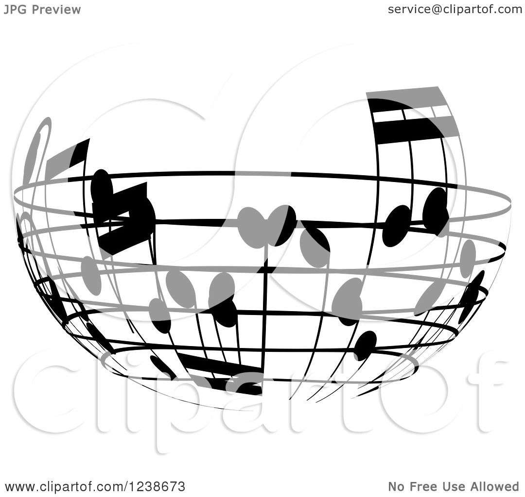 clipart of a black and white music note circle design element 4