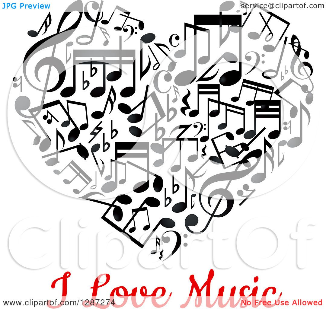 clipart of a black and white music note heart with red i love music text