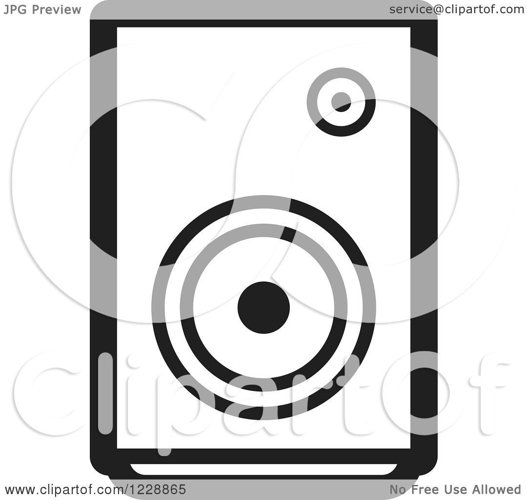 Clipart of a Black and White Music Speaker Icon - Royalty ...
