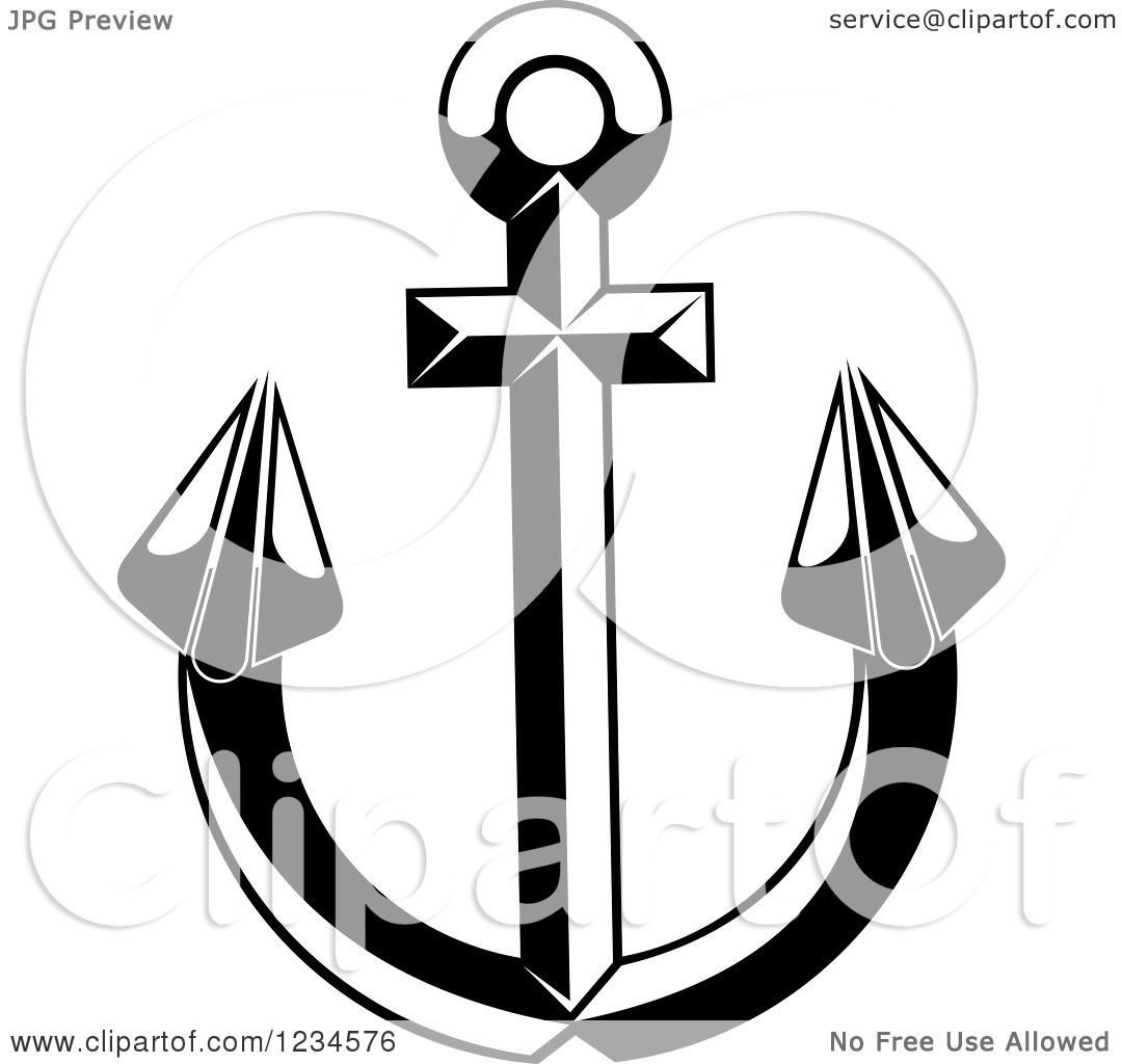 Nautical Clipart Black And White Clipart of a Bl...