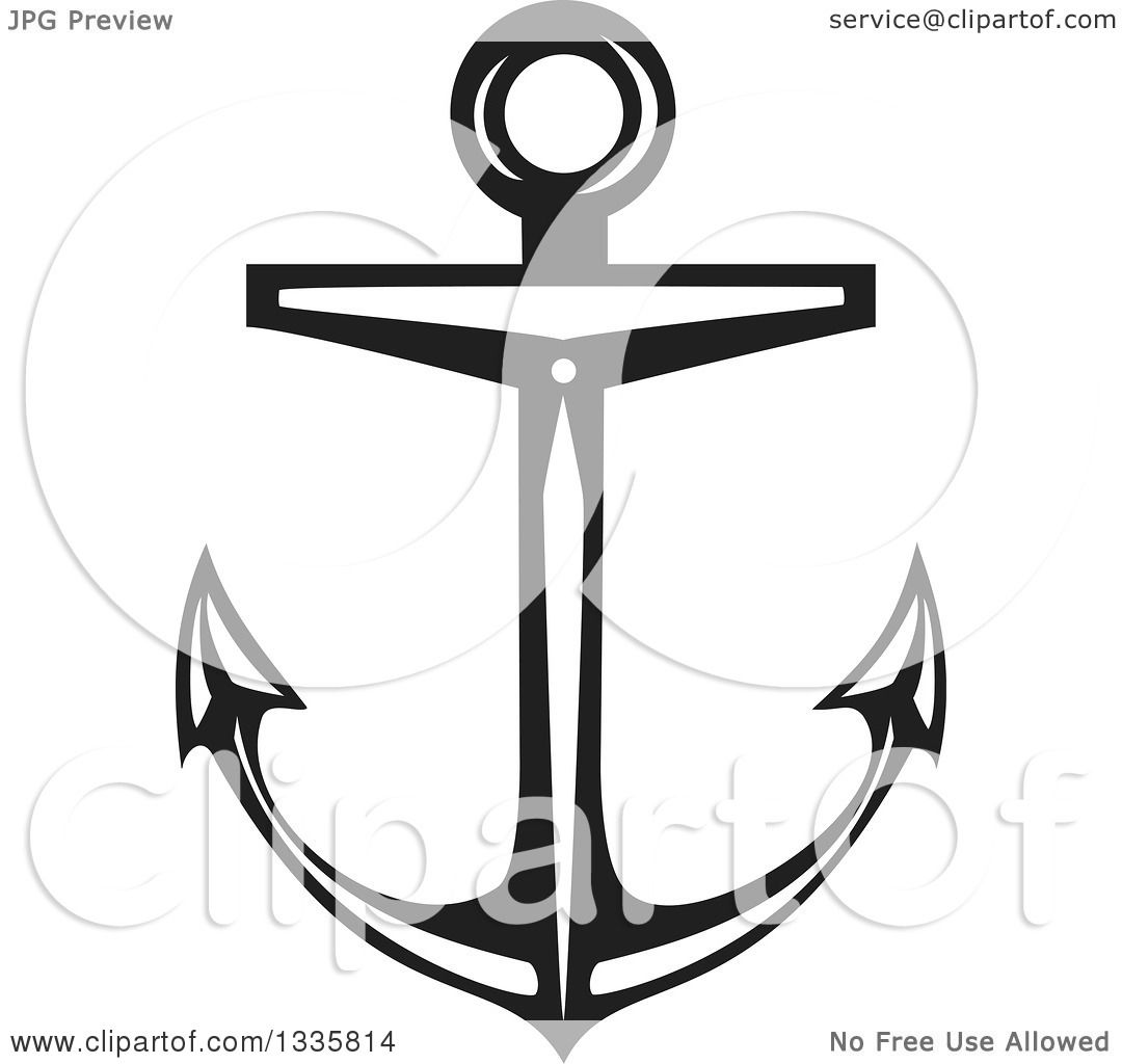 Nautical Clipart Black And White Clipart of a Black and...