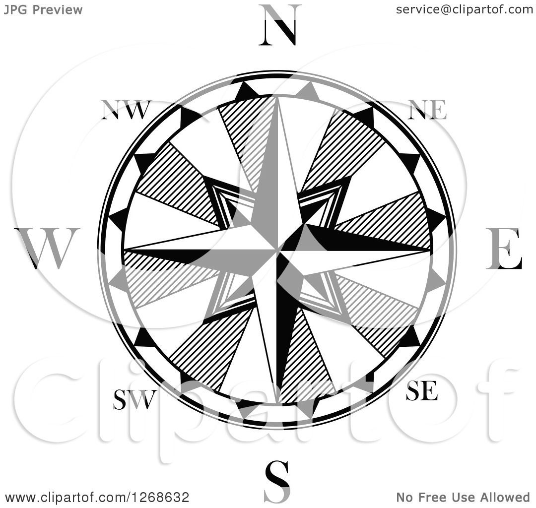 Clipart Of A Black And White Nautical Compass