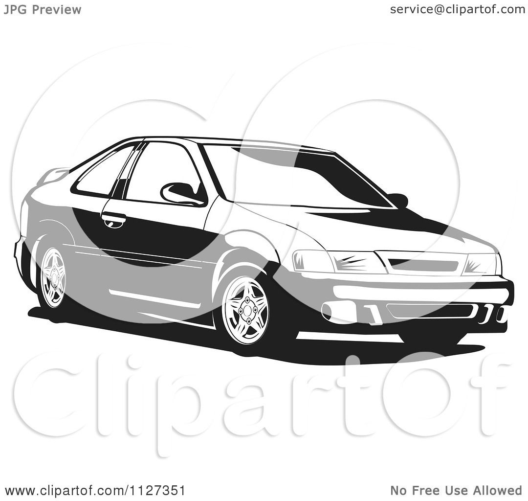 Clipart Of A Black And White Nissan Lucino Car Royalty Free