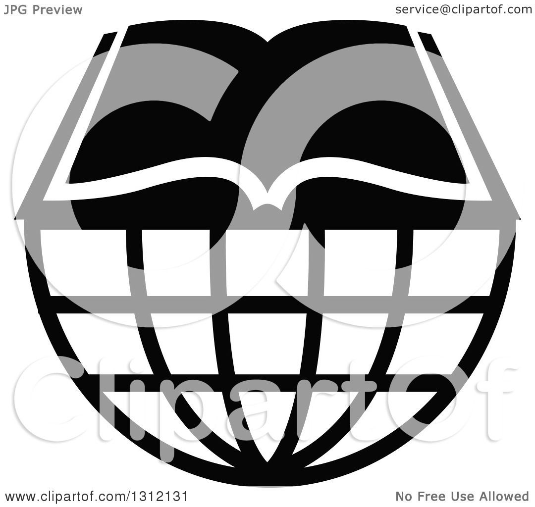 Clipart of a Black and White Open Book on a Wire Globe - Royalty ...