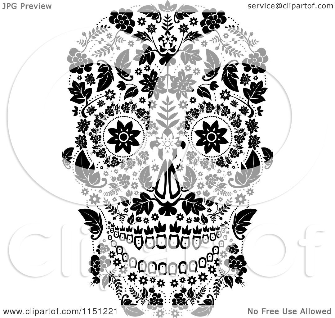 Clipart of a Black and White Ornate