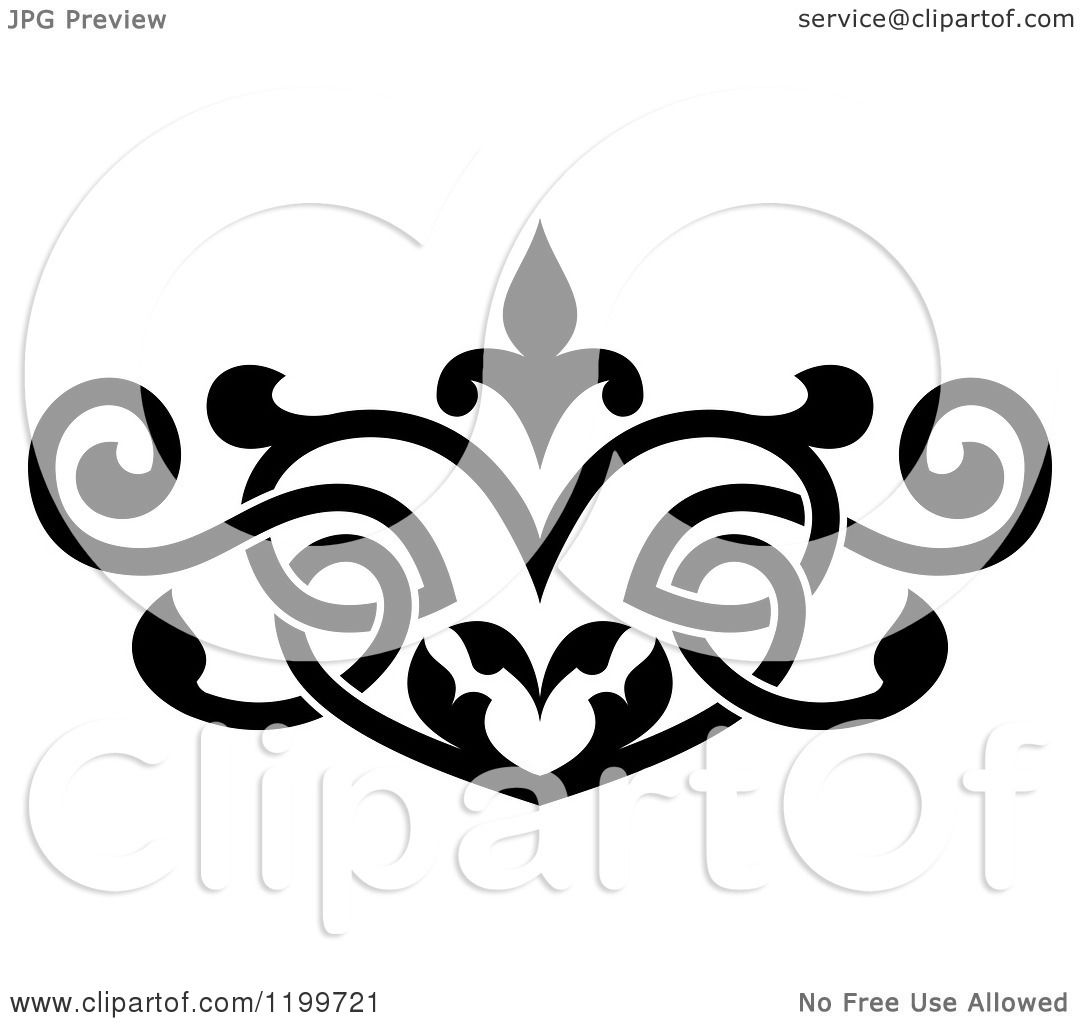 Black Flower Heart Shape Illustration Tattoo On White: Clipart Of A Black And White Ornate Heart Shaped Floral