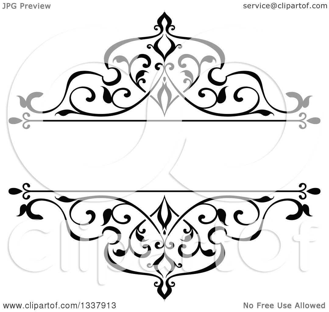 black vintage frame design. Clipart Of A Black And White Ornate Vintage Floral Frame Design Element With Text Space 4 - Royalty Free Vector Illustration By Tradition SM C