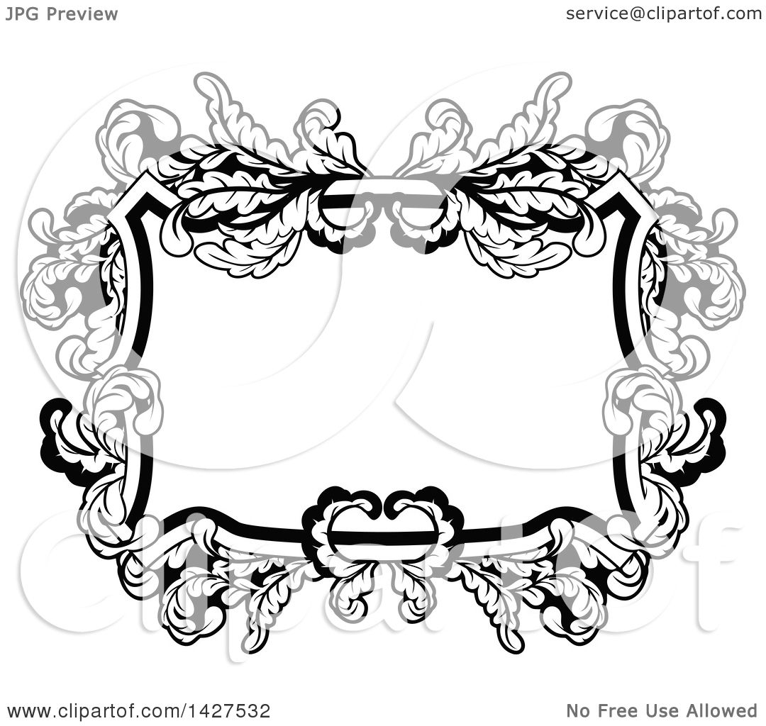 Clipart of a Black and White Ornate Vintage Floral Frame - Royalty ...