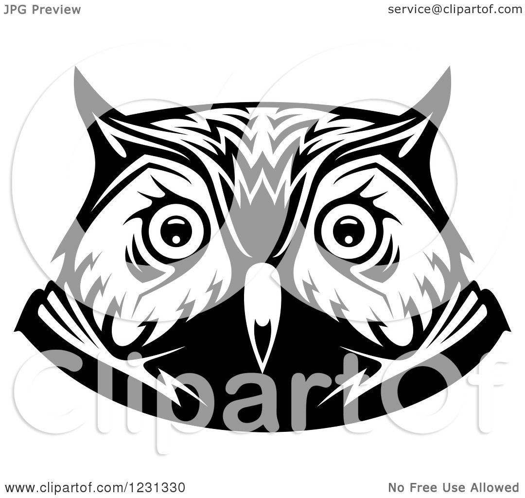 Clipart of a Black and White Owl Face Tribal Tattoo 2 ...