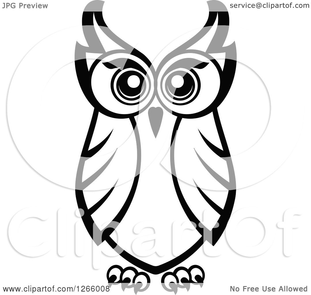 Clipart Of A Black And White Owl Royalty Free Vector