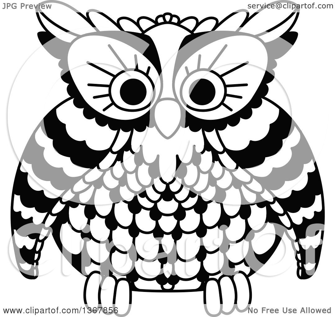 Clipart of a Black and White Owl - Royalty Free Vector ...