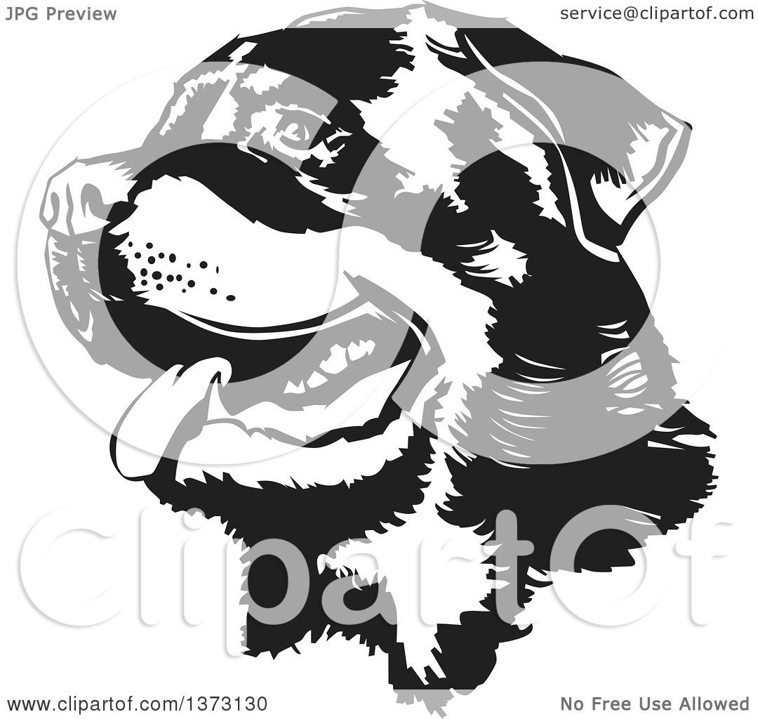 clipart of a black and white panting rottweiler dog face royalty