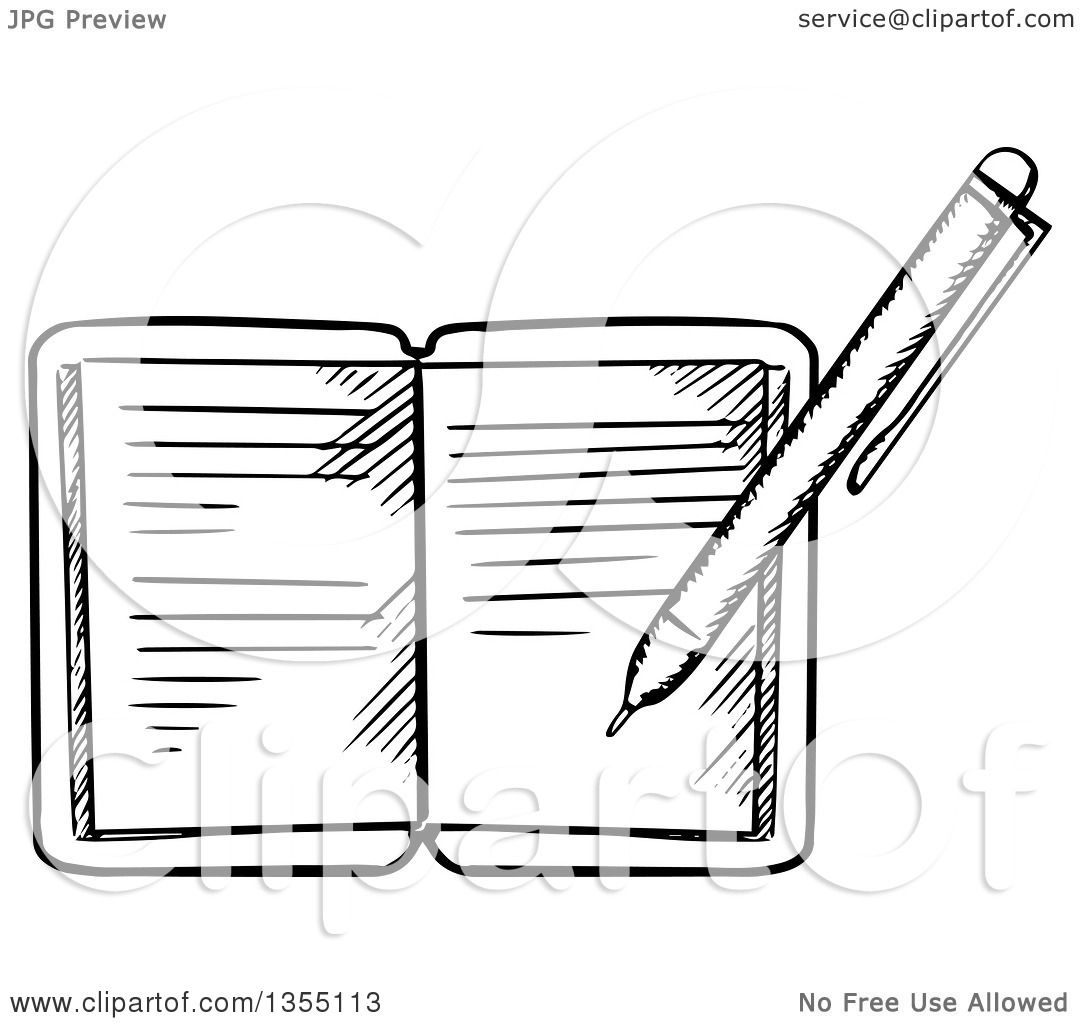 clipart of a black and white pen writing in a journal - royalty free