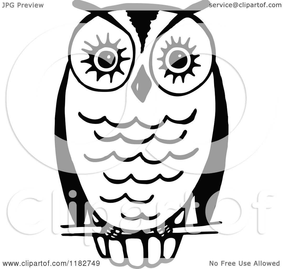 Clipart of a Black and White Perched Owl 3 - Royalty Free ...