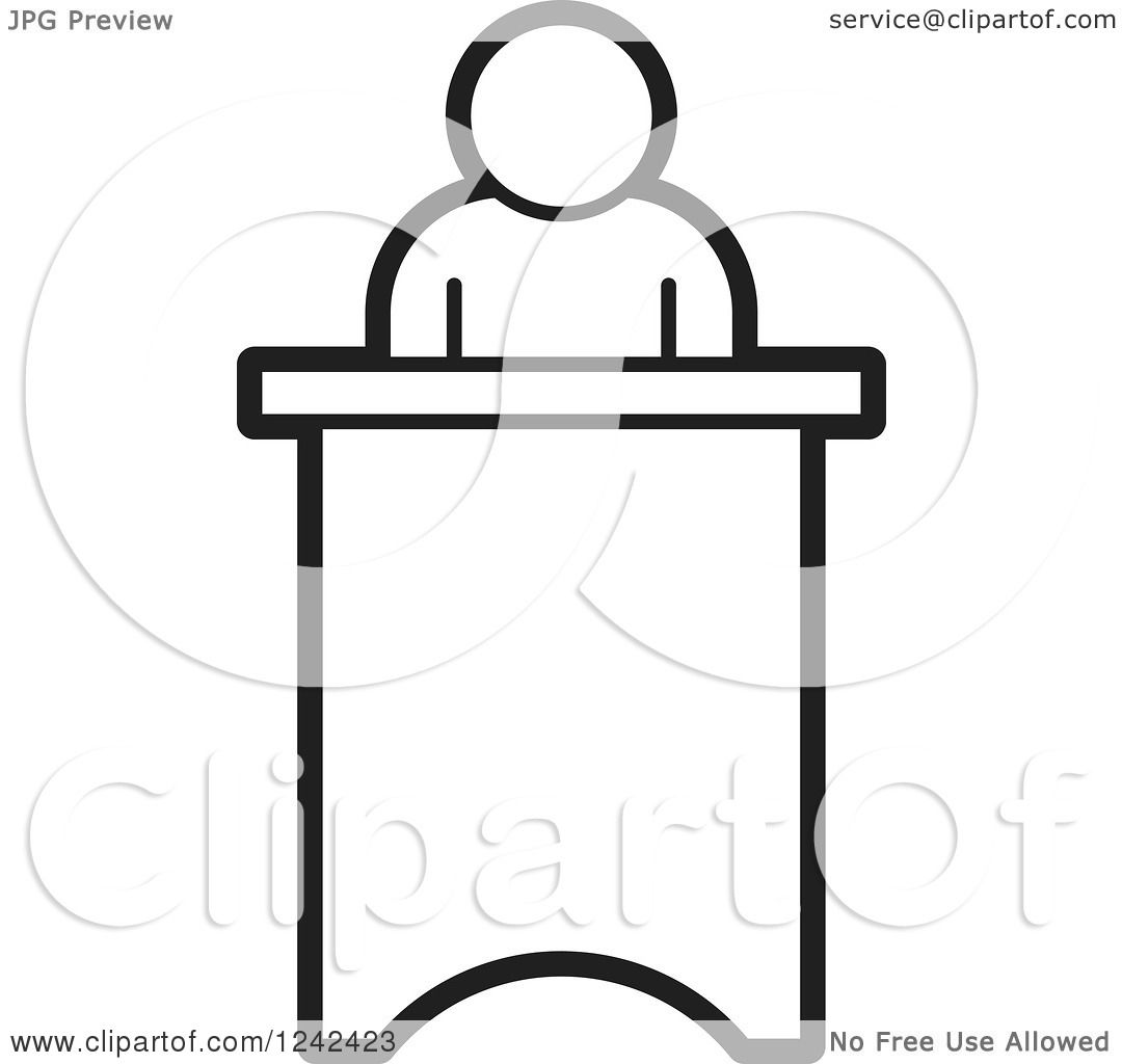 Clipart of a Black and White Person Speaking at a Podium - Royalty ...