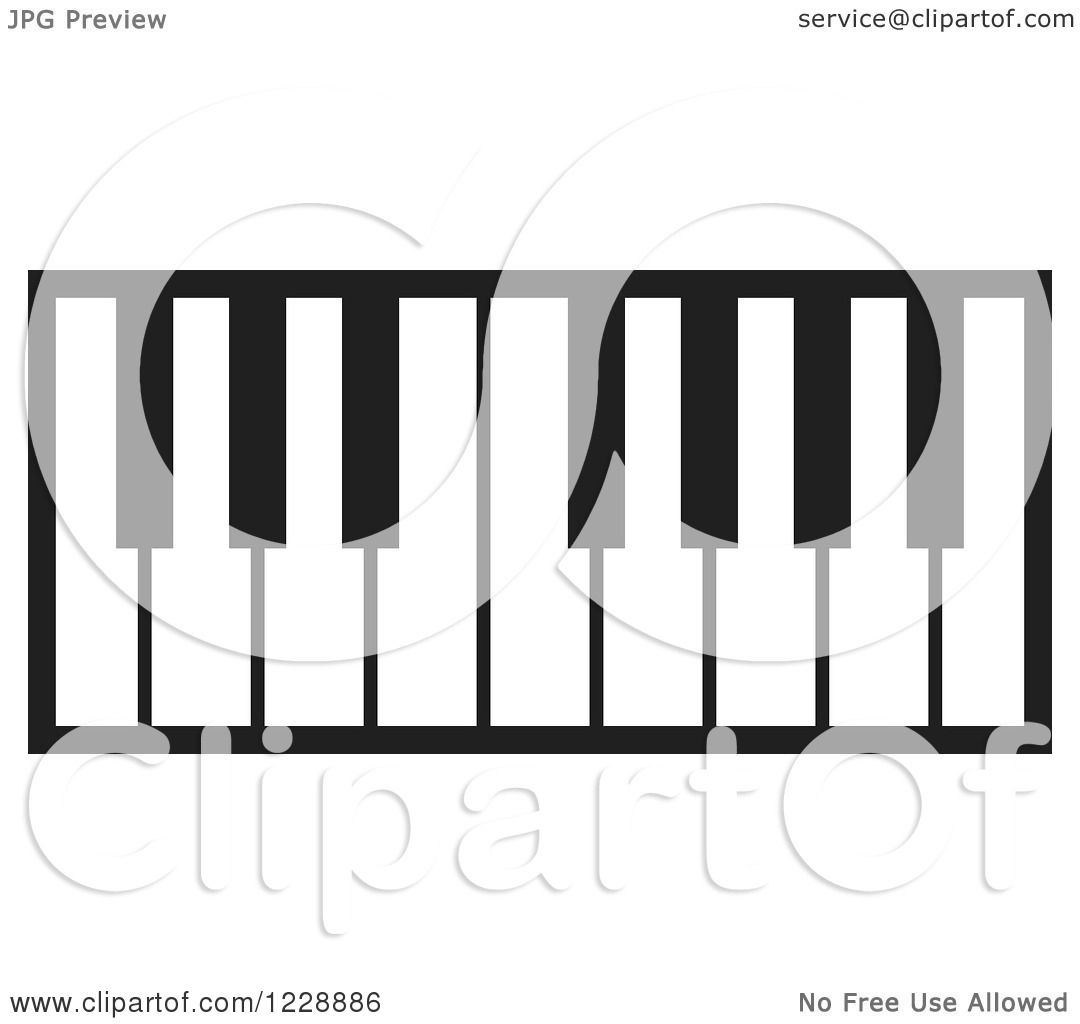 Clipart of a Black and White Piano Keyboard Icon - Royalty Free ...