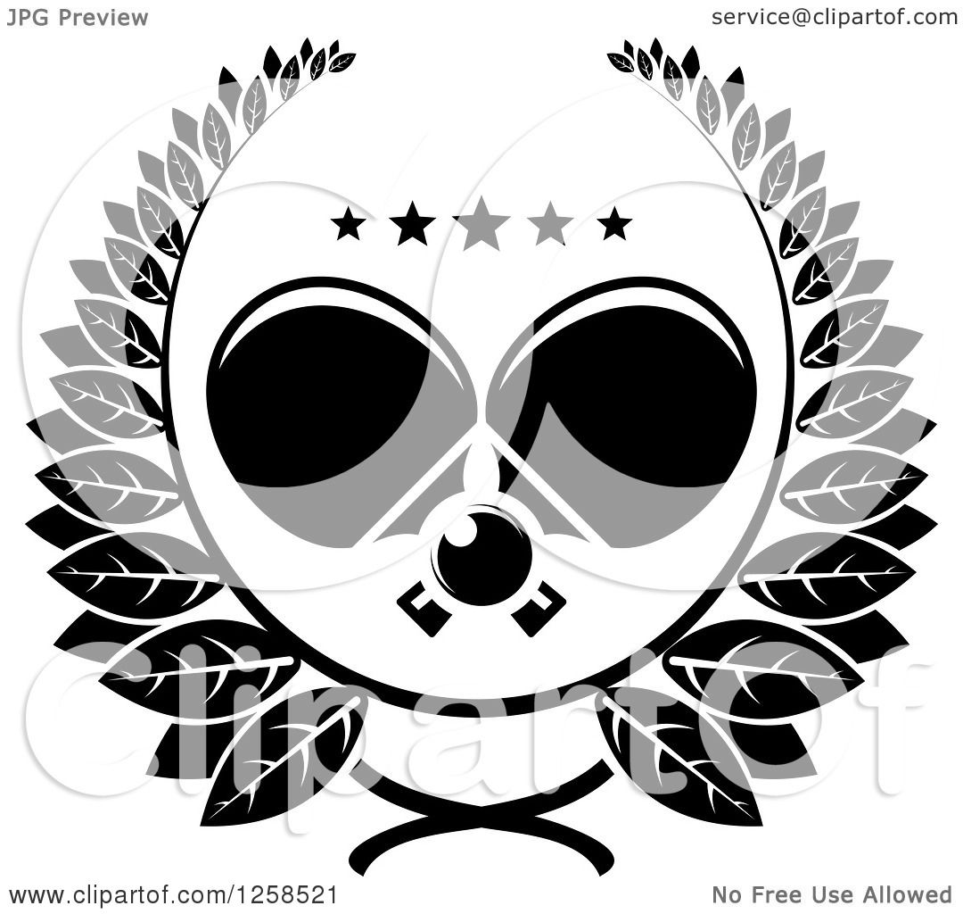 Clipart of a Black and White Ping Pong Ball and Crossed ...
