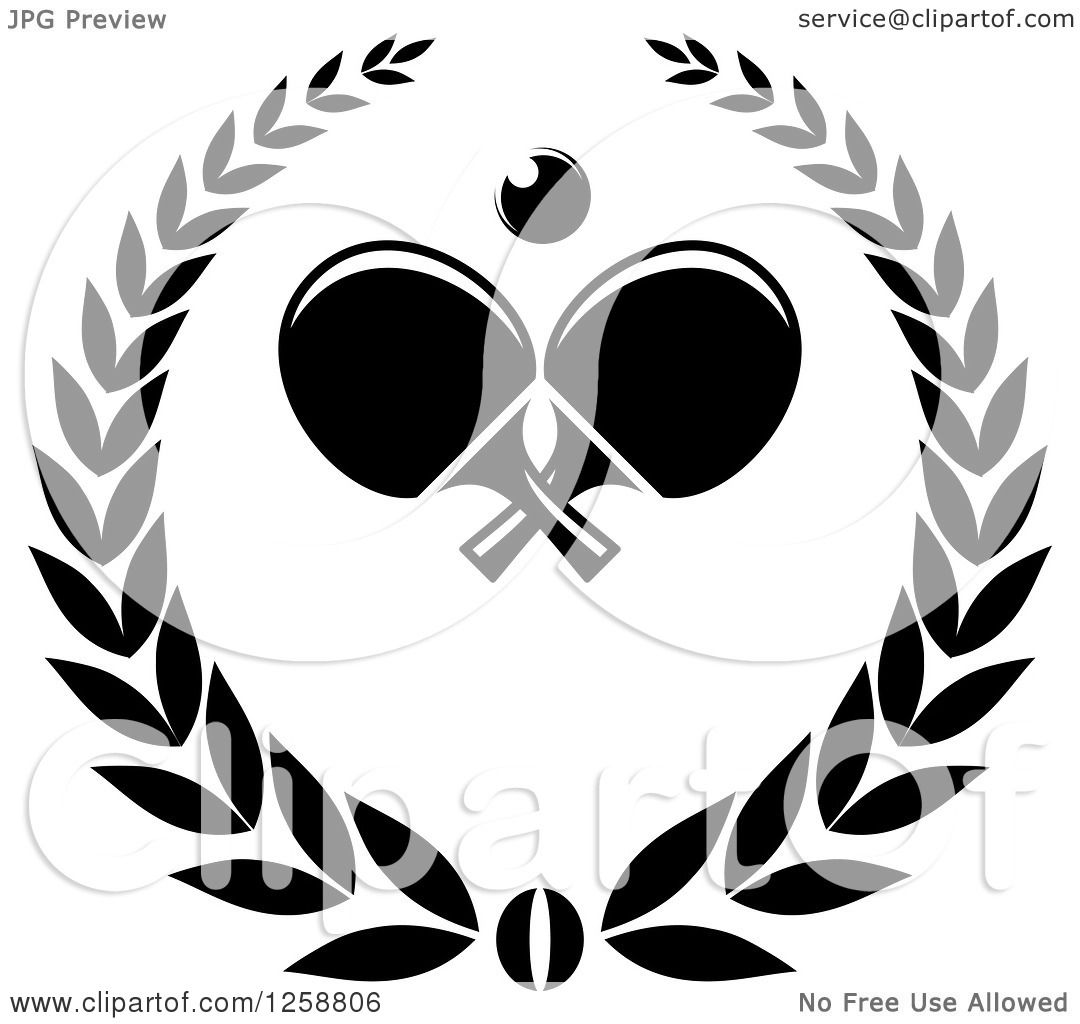 Clipart of a Black and White Ping Pong Ball and Table ...