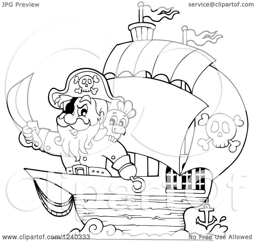 clipart of a black and white pirate captain and parrot at the