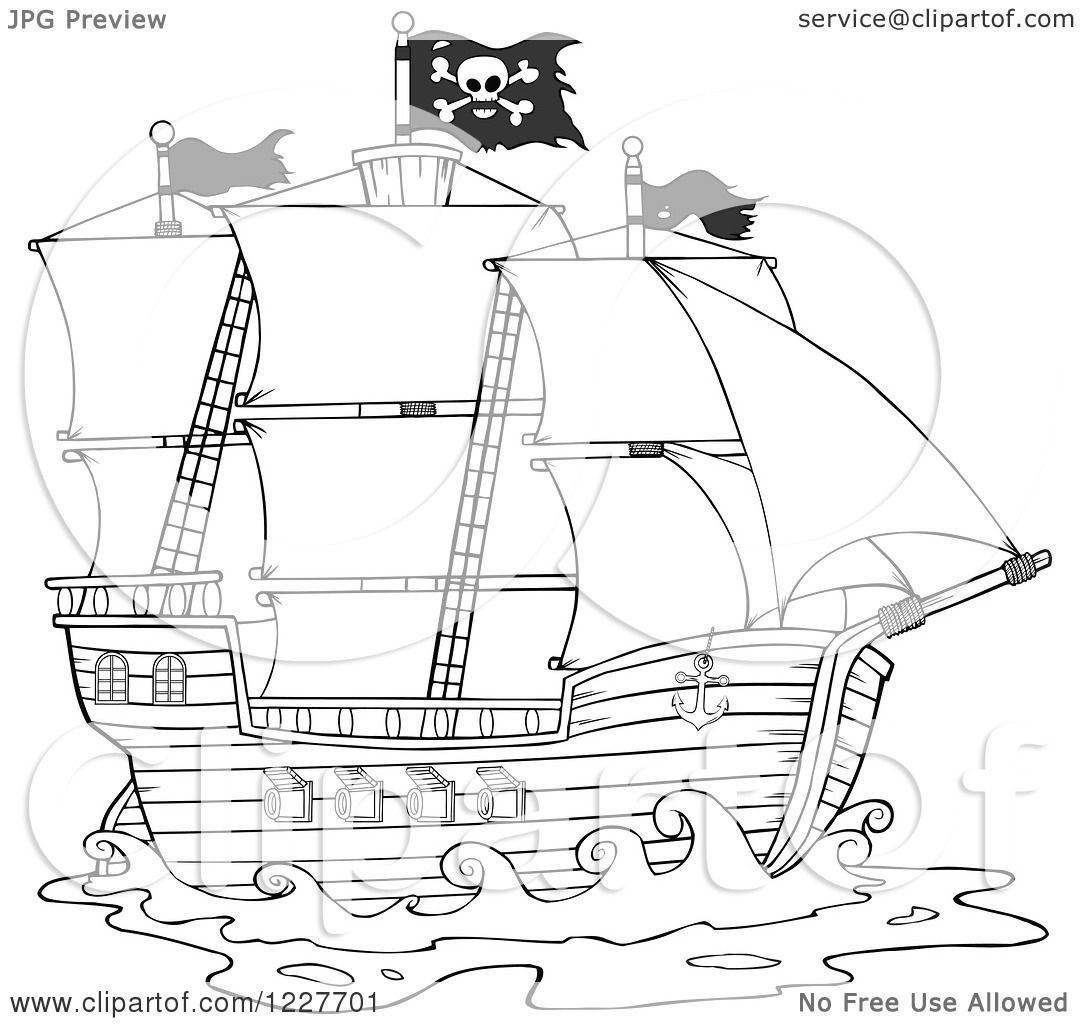 clipart of a black and white pirate ship royalty free vector by hit toon - Sunken Pirate Ship Coloring Pages