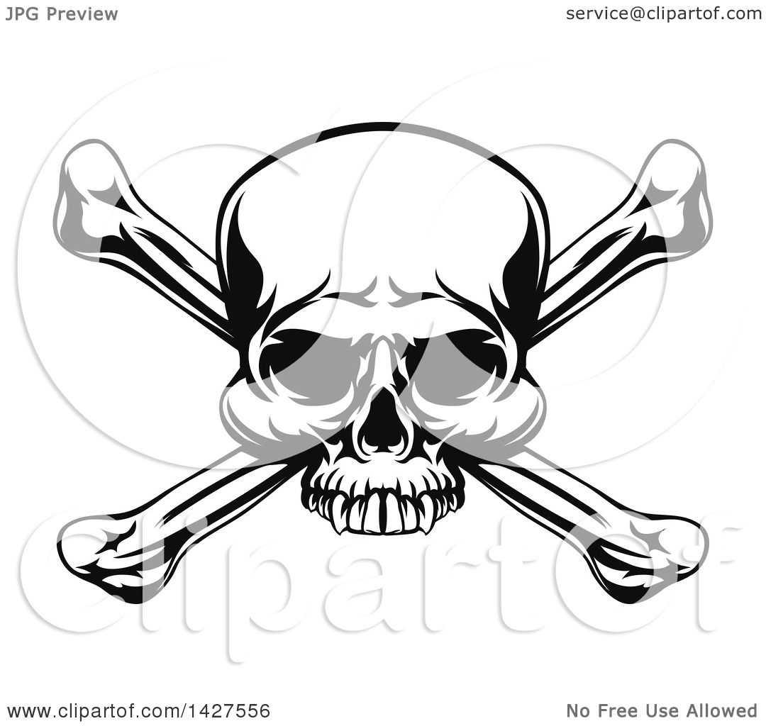 clipart of a black and white pirate skull and crossbones royalty