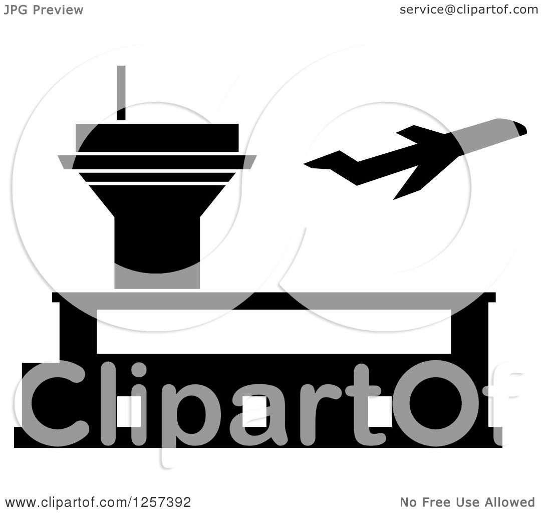 Clipart of a Black and White Plane and Airport - Royalty Free ...