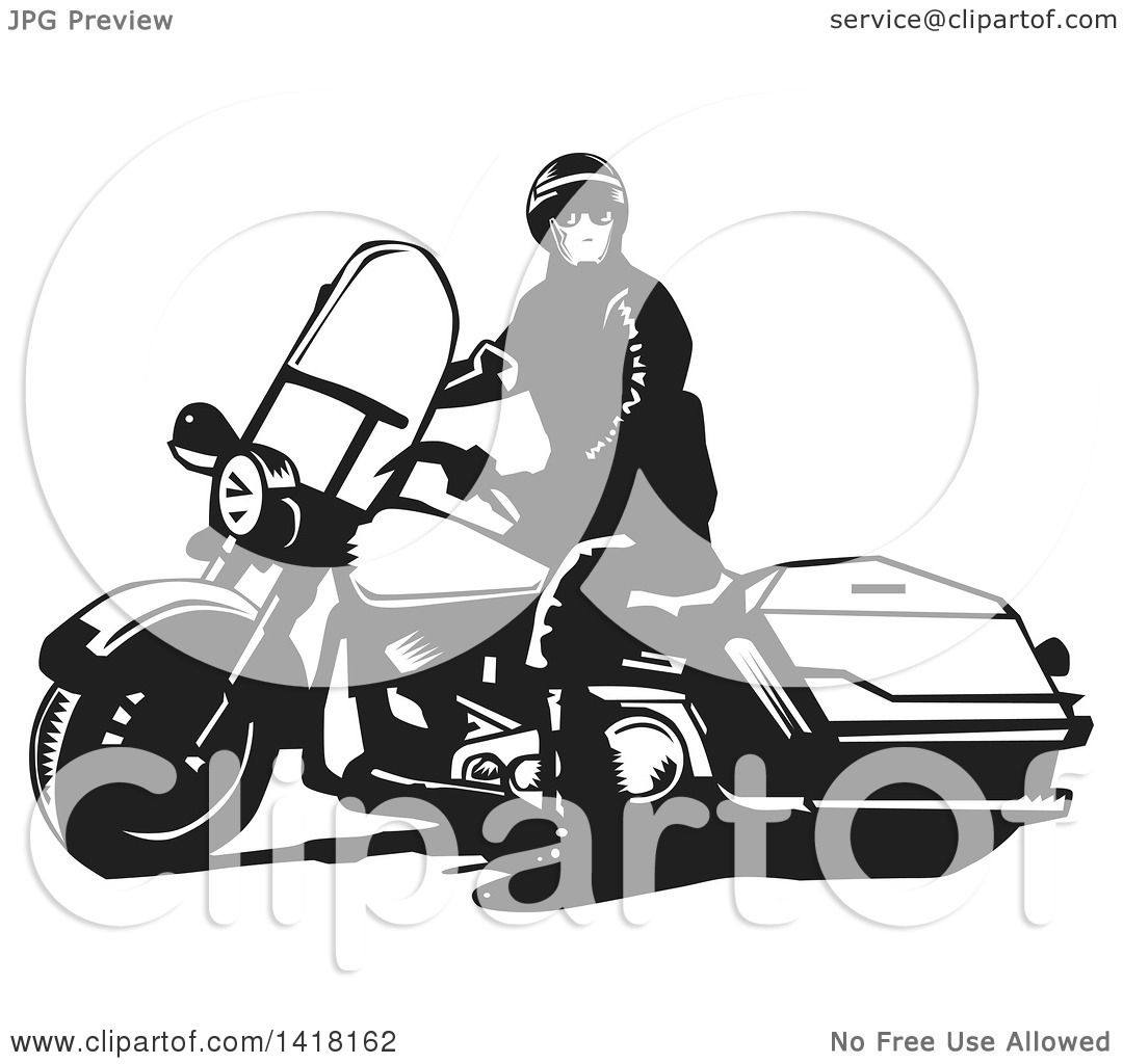 Clipart of a Black and White Police Officer on a Motorcycle ...