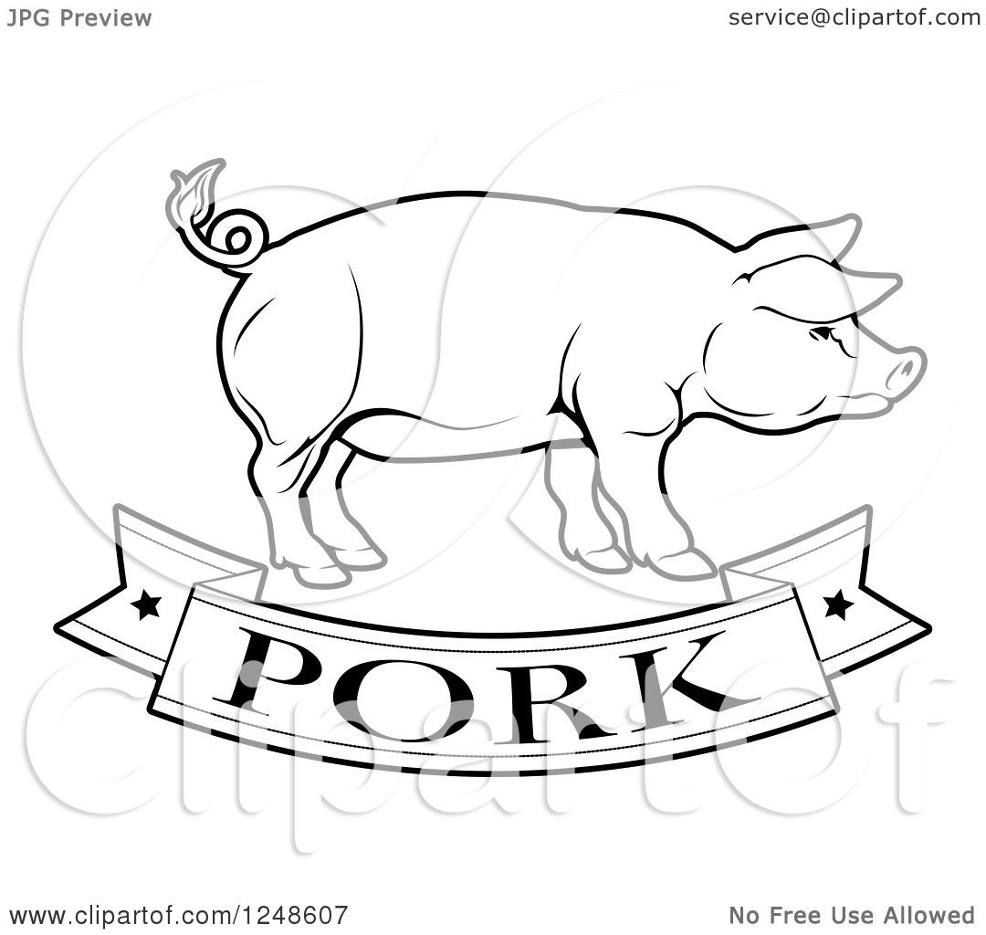 Clipart of a Black and White Pork Food Banner and Pig ...