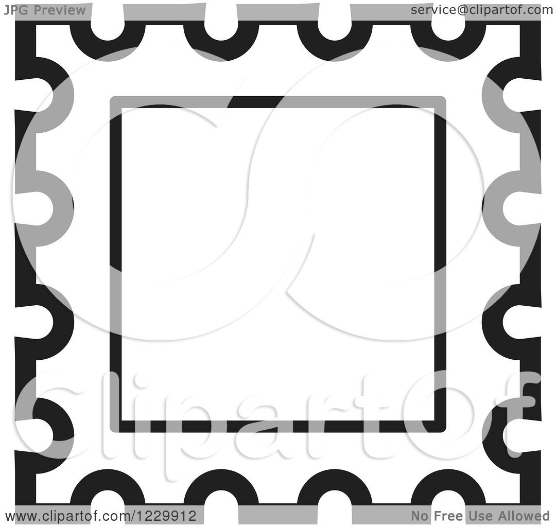 Postage Stamp Clip Art Black And White Clipart of a Black and...