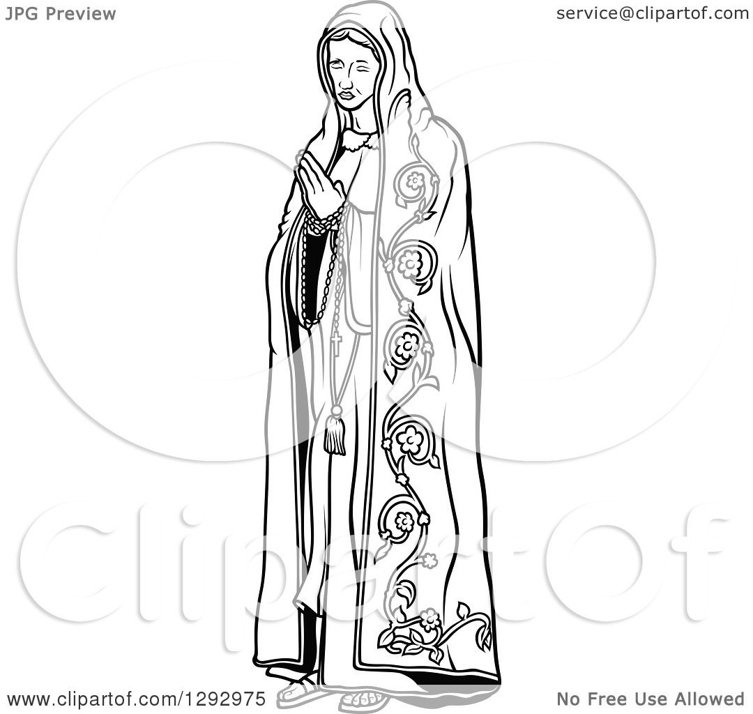 Clipart Of A Black And White Praying Virgin Mary 3