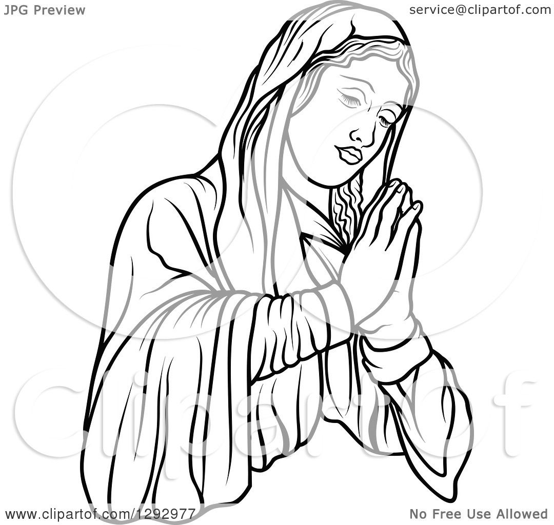 Clipart Of A Black And White Praying Virgin Mary Facing