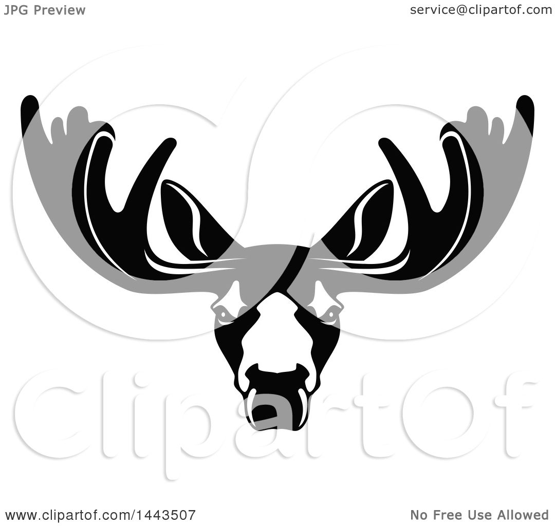 Clipart Of A Black And White Profiled Elk Caribou Or Moose