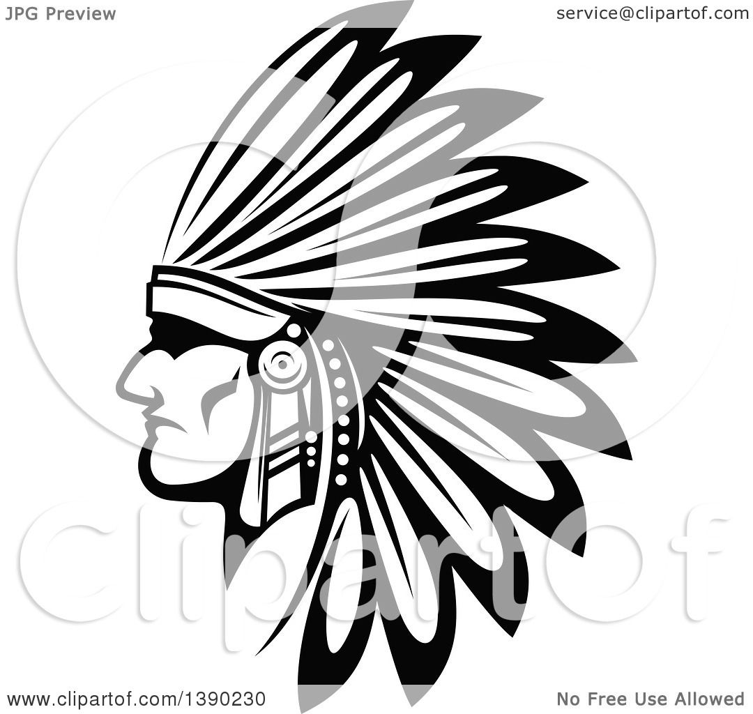 Clipart of a Black and White Profiled Native American ...