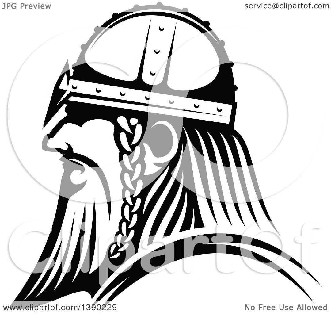 clipart of a black and white profiled viking warrior