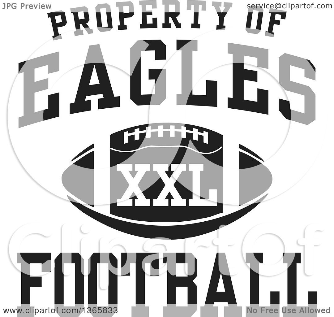 Clipart of a Black and White Property of Eagles Football XXL ...