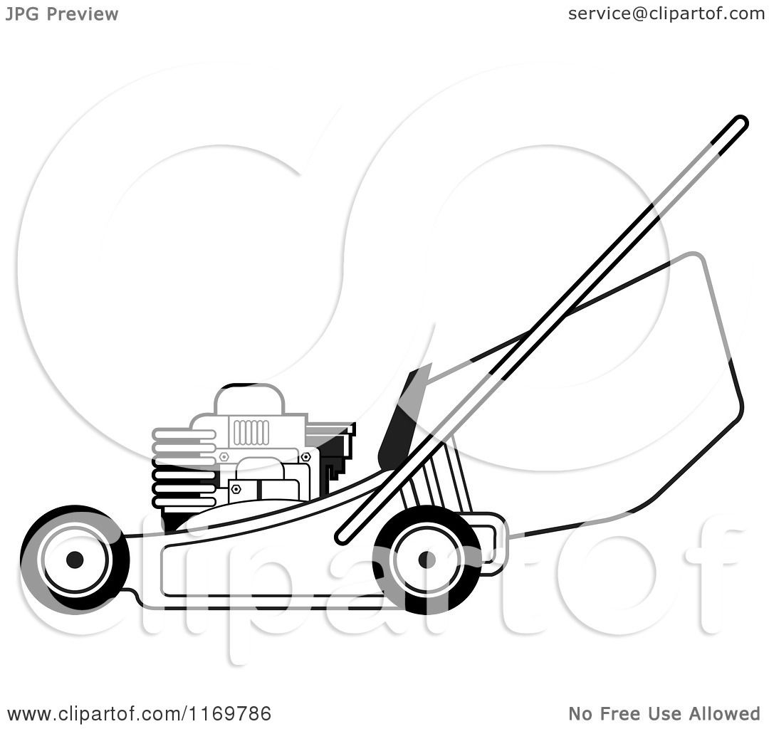 Clipart of a black and white push lawn mower royalty for Lawn mower coloring page
