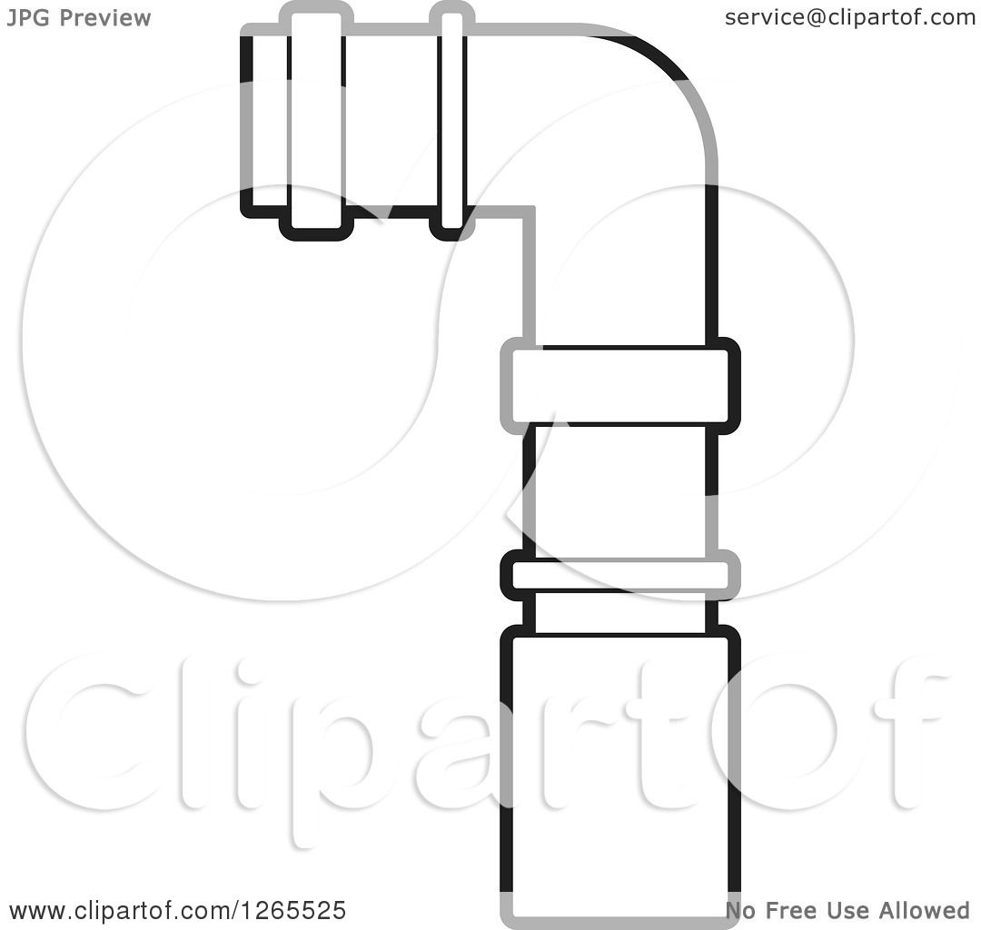 clipart of a black and white pvc pipe joint