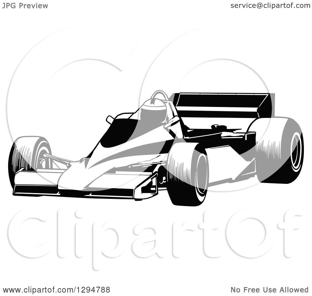 Clipart of a Black and White Race Car and Driver Facing ...