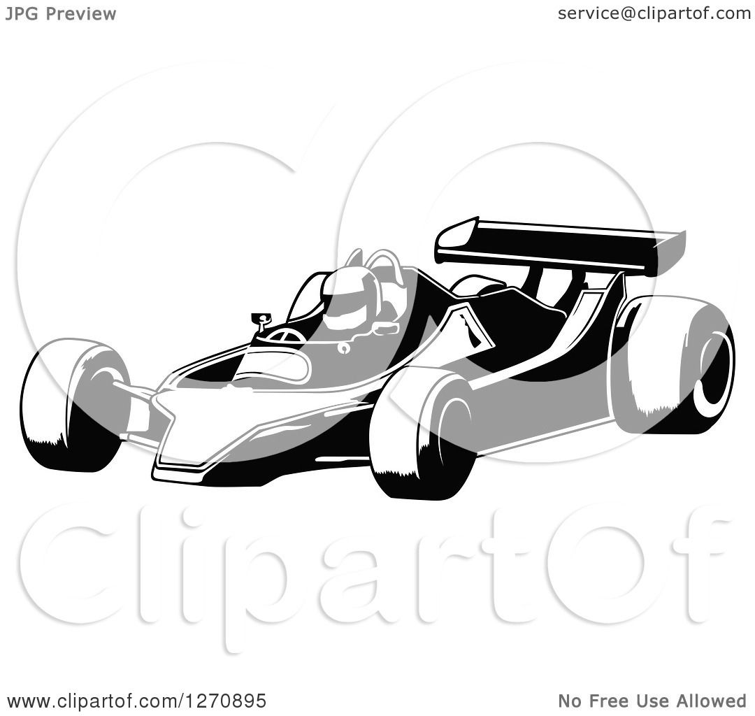 Clipart Of A Black And White Race Car And Driver Facing