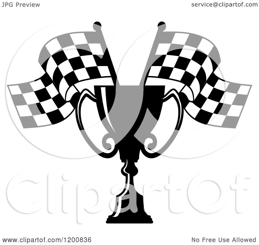 Clipart Of A Black And White Racing Trophy Cup Checkered Flags